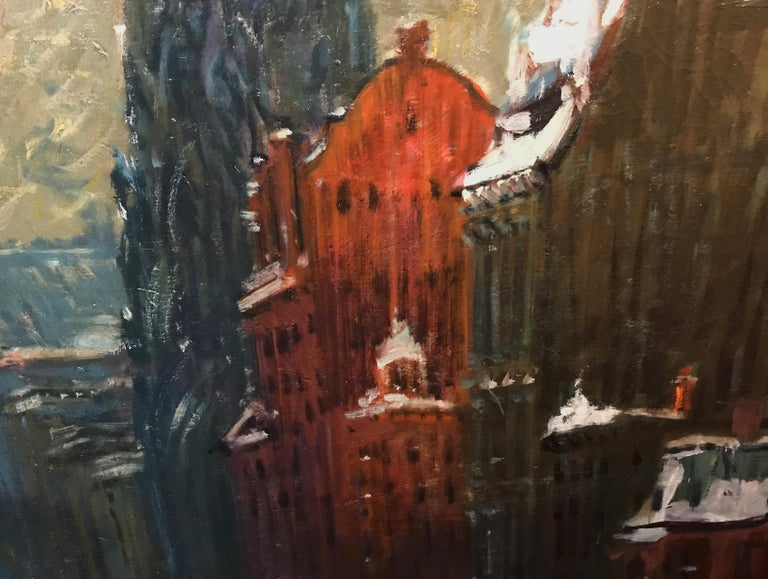 Fifth Avenue, New York - Black Landscape Painting by Arthur Clifton Goodwin