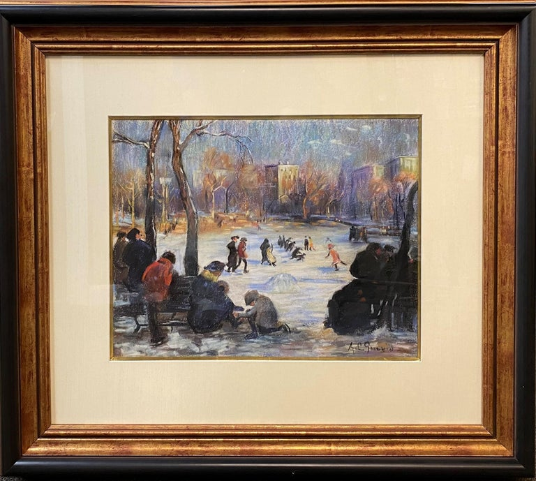 Skaters on the Frog Pond, Boston - Painting by Arthur Clifton Goodwin