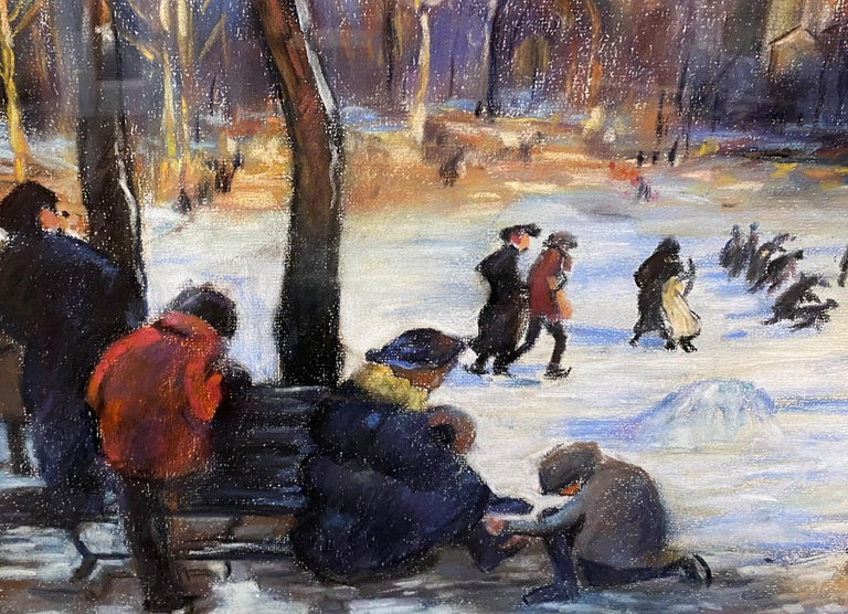 Skaters on the Frog Pond, Boston - American Impressionist Painting by Arthur Clifton Goodwin