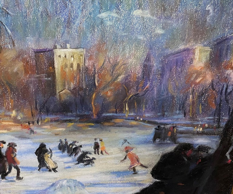 Skaters on the Frog Pond, Boston - Gray Landscape Painting by Arthur Clifton Goodwin