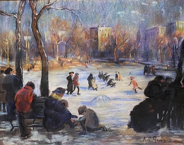 Arthur Clifton Goodwin Landscape Painting - Skaters on the Frog Pond, Boston