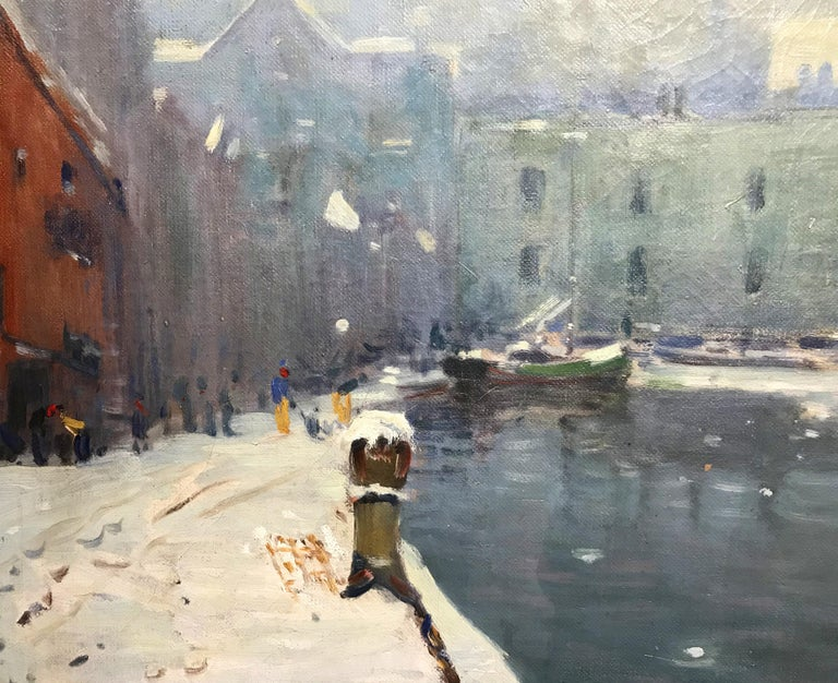 T Wharf - American Impressionist Painting by Arthur Clifton Goodwin