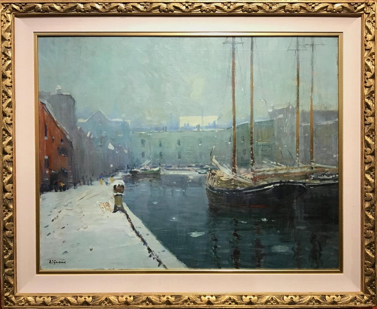 A wonderful impressionist winter harbor scene in Boston by American artist Arthur Clifton Goodwin (1864-1929). Born in Portsmouth, New Hampshire, Goodwin lived and worked most of his life in Massachusetts and New York, best known for his street and