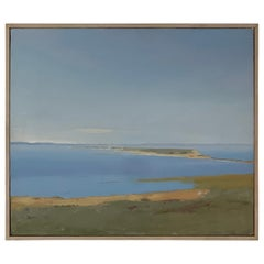 "Arthur Cohen Oil on Canvas ""Sandy Hook from Twin Lights"", 1987"