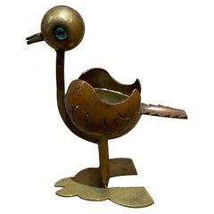 Los Castillo So Cute Bird Ashtray in Brass Turquoise Eye Stone  MEXICO 1960s