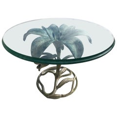 Arthur Court Aluminum Lily Flower Cocktail Table Beveled Glass
