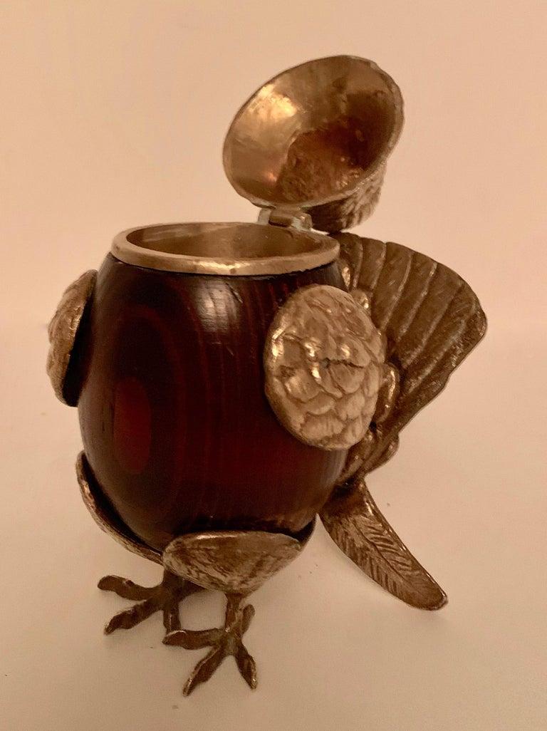 Post-Modern Arthur Court Brass and Wood Bird Stash Box For Sale