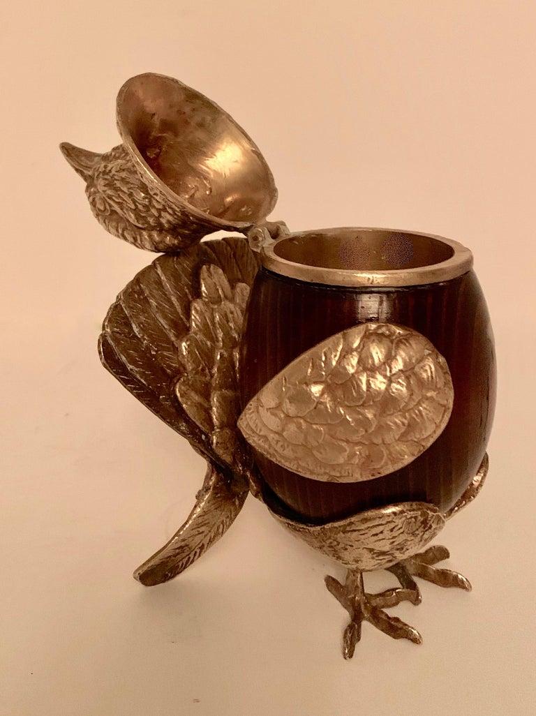American Arthur Court Brass and Wood Bird Stash Box For Sale