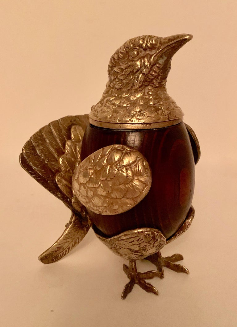 20th Century Arthur Court Brass and Wood Bird Stash Box For Sale