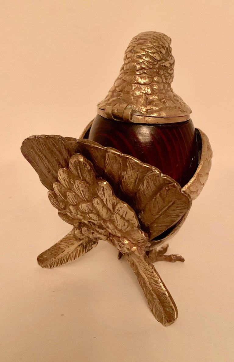 Arthur Court Brass and Wood Bird Stash Box For Sale 1