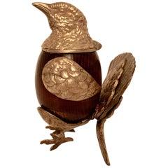 Arthur Court Brass and Wood Bird Stash Box