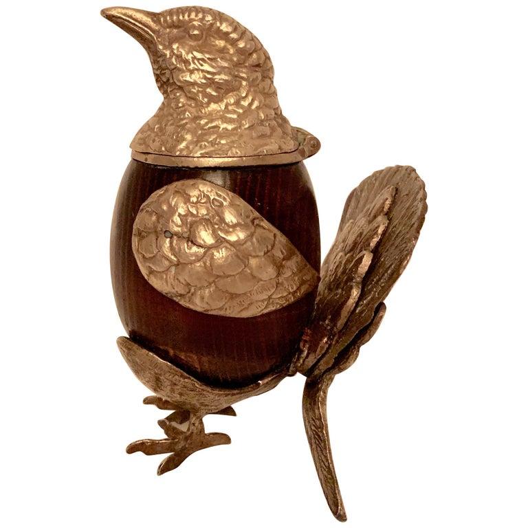 Arthur Court Brass and Wood Bird Stash Box For Sale