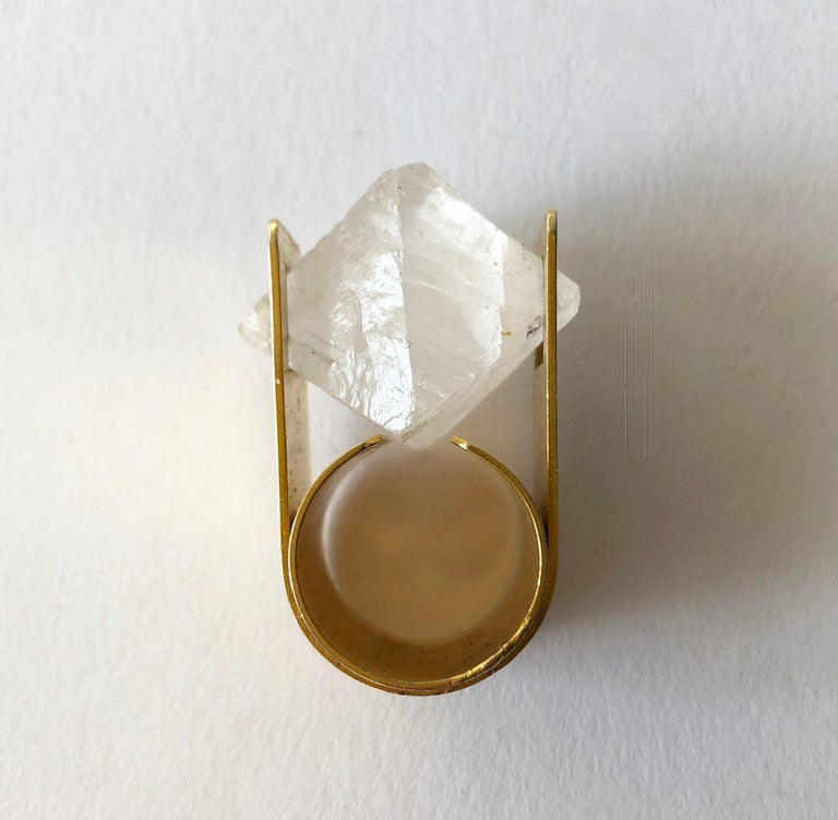 Hexagon Cut Arthur Court Faceted Quartz California Modernist Ring For Sale