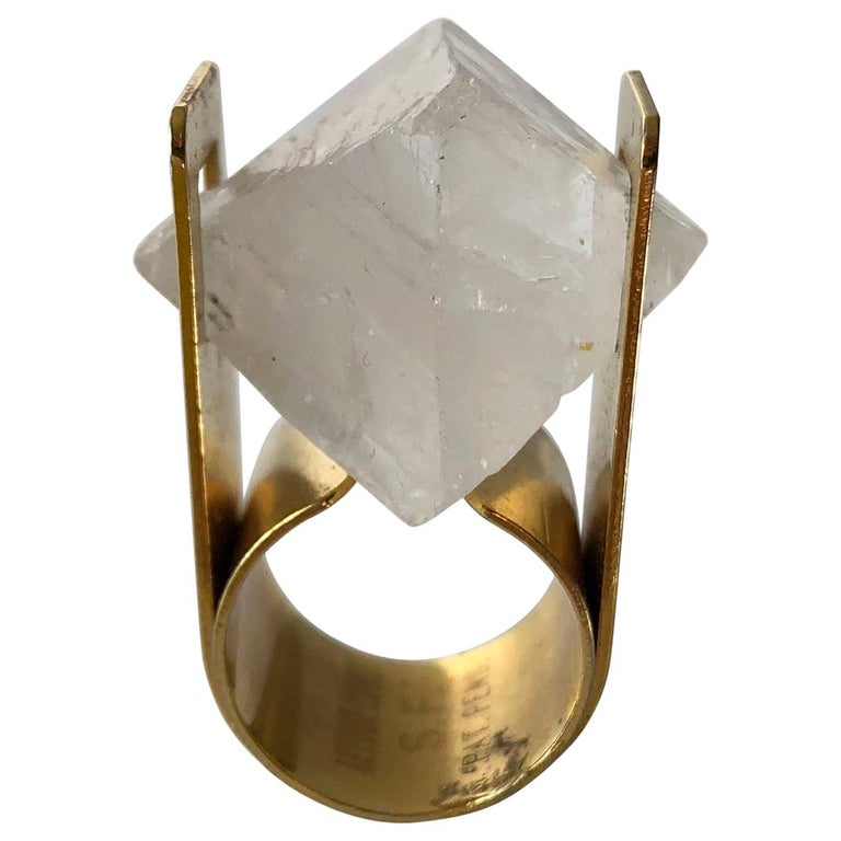 Arthur Court Faceted Quartz California Modernist Ring For Sale