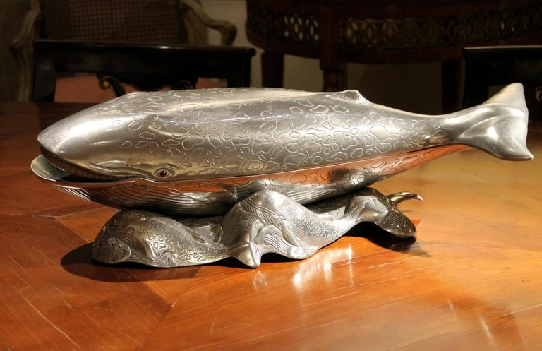 Arthur Court Mid-Century Modern Aluminum Whale Tray Platter Ice Bucket or Cooler For Sale 5