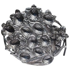 Arthur Court Silver Aluminum Deviled Egg Platter with Orchid Flowers