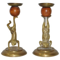 Arthur Court Vintage Brass and Teak Acrobatic Frogs Candlesticks, circa 1978