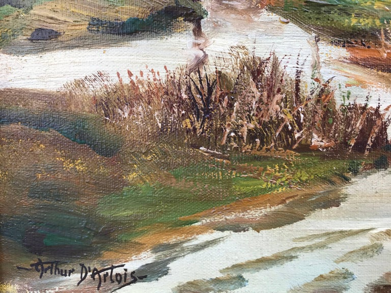 For your consideration here is a very fine oil on canvas by the Canadian born artist, Arthur D'Artois. Signed lower left and inscribed verso on top stretcher bar English Countryside. The painting has been recently cleaned and has had no