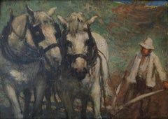 """Impressionist style painting of Draft Horses, titled """"The Ploughing Team"""""""