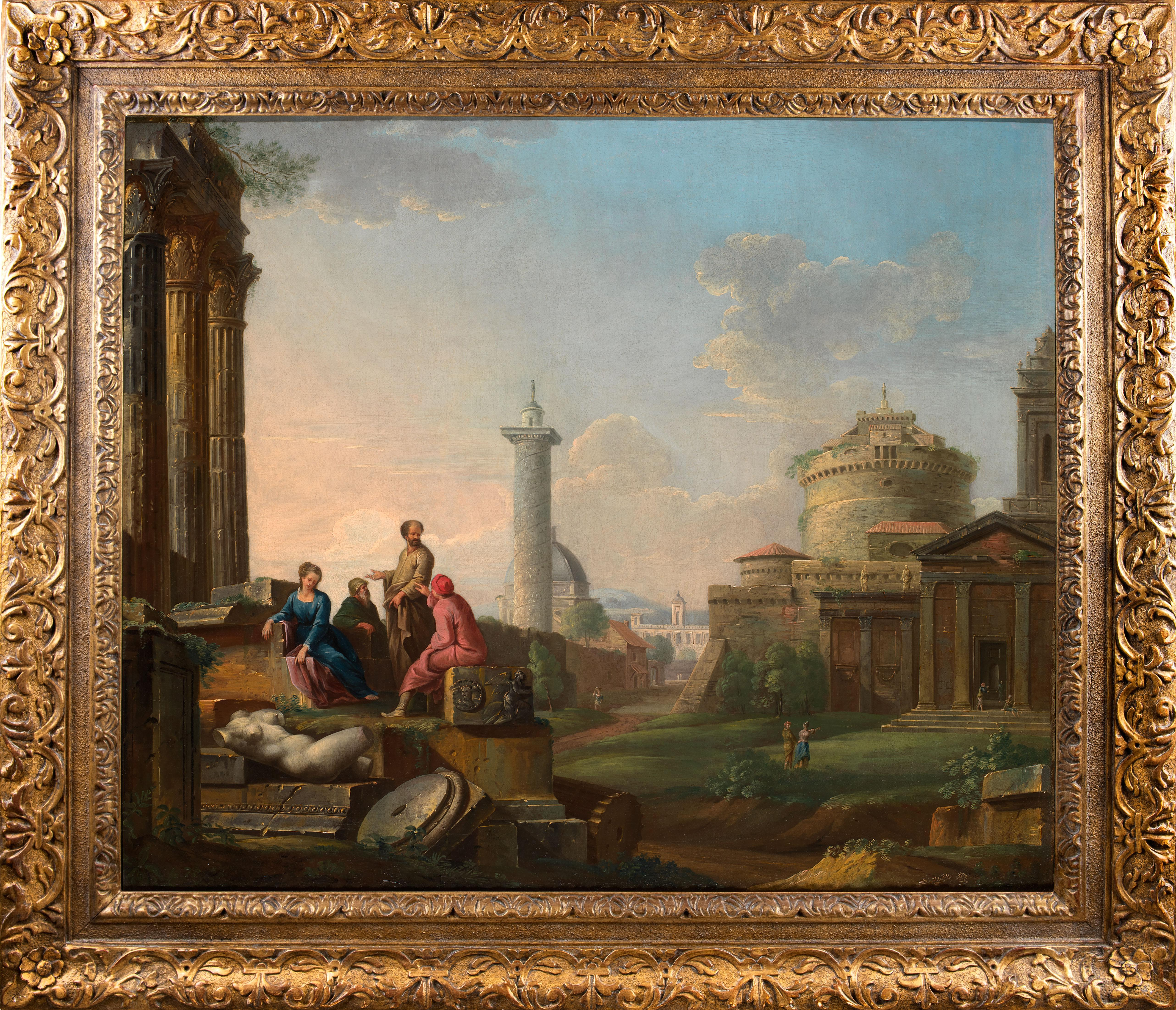 18th century oil capriccio of Rome