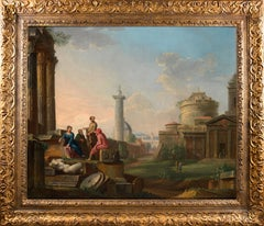 18th century oil capriccio of Rome