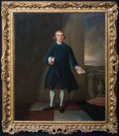 English Portrait Of A Gentleman & Holding A Letter, 18th Century