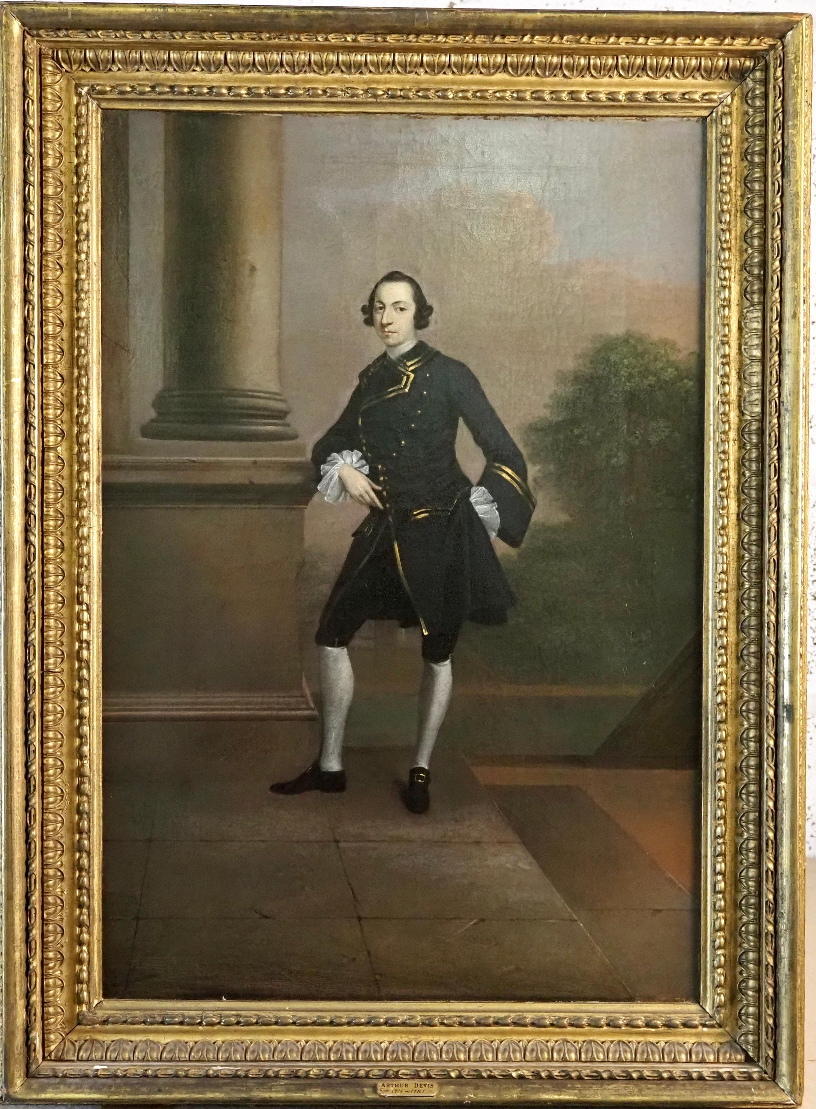 Portrait of Lascelles Raymond Iremonger, full-length by a Classical portico