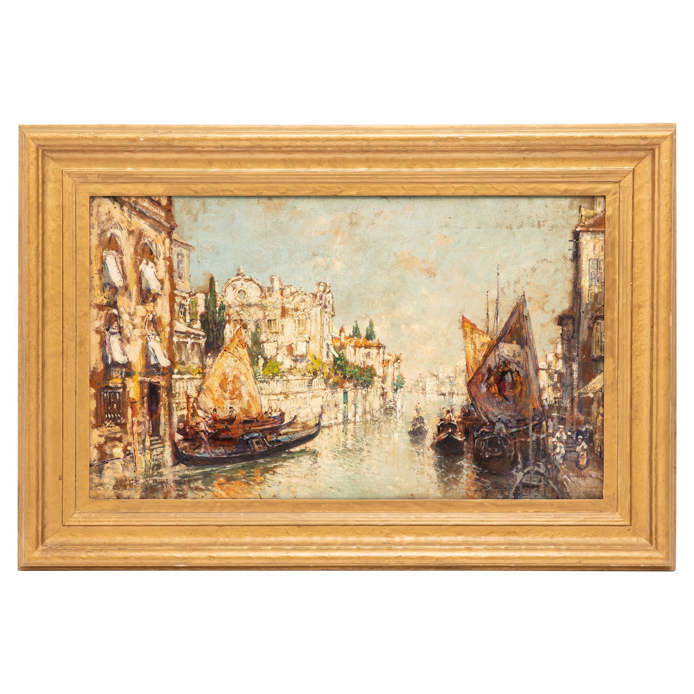 Arthur Diehl Signed Oil Painting of Venetian Canal Scene, 1921