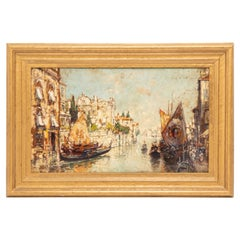 Arthur Diehl Signed Oil Painting of Venetian Canal Scene, 1921