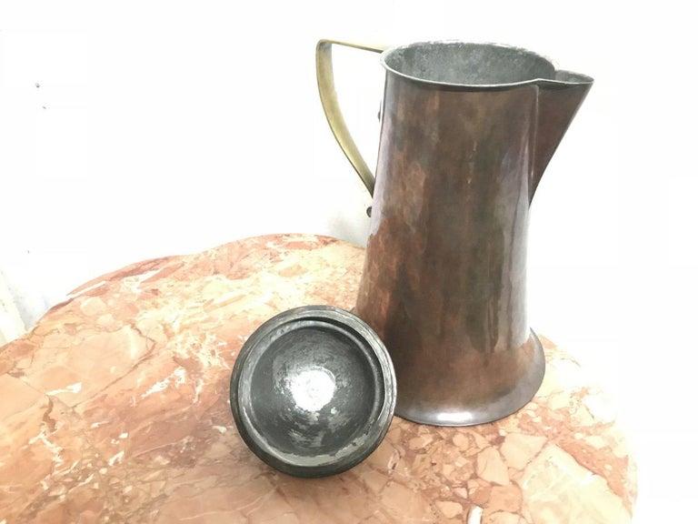 Hand-Crafted Arthur Dixon, Birmingham Guild of Handicrafts, Arts & Crafts Copper & Brass Jug For Sale