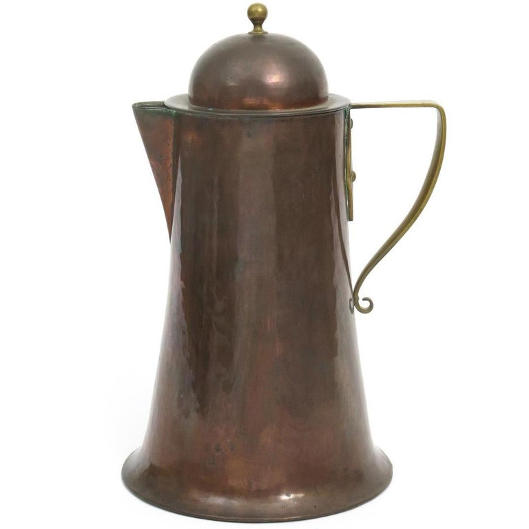 Arthur Dixon, Birmingham Guild of Handicrafts, Arts & Crafts Copper & Brass Jug For Sale