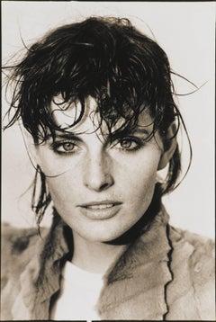 Joan Severance in Fendi by Arthur Elgort. Woman portrait in black & white, 1982