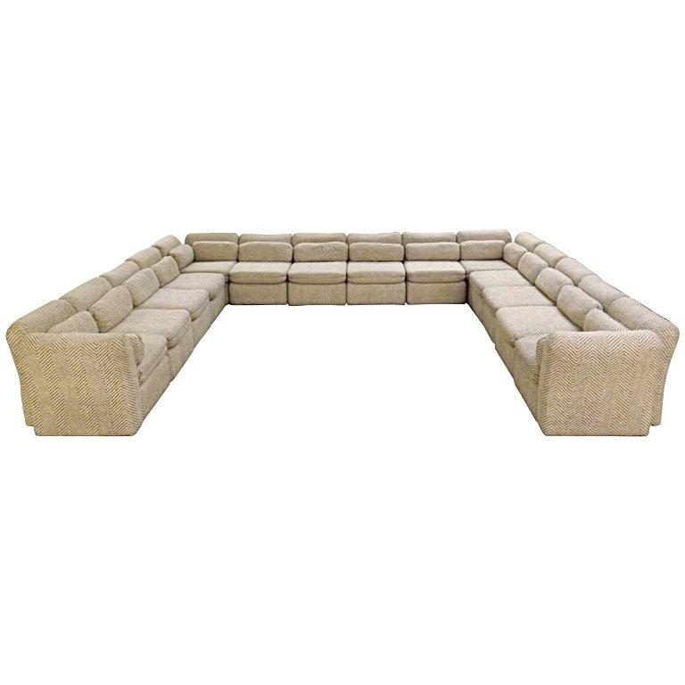 Arthur Elrod Sectional Sofa in Herringbone Fabric For Sale