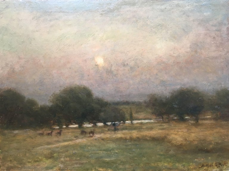 """Arthur George Bell Landscape Painting - The Deer at Penn Ponds, Richmond Park by Moonlight"""""""