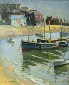 "Harbor Landscape of fishing boats, ""Morning at St. Ives"""