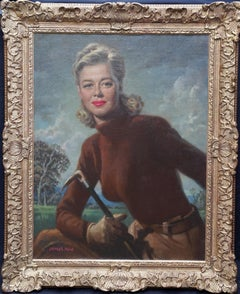 Portrait of Actress Helen Walker - British 40's art female portrait oil painting