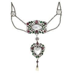 Arthur & Georgie Gaskin Pink Tourmaline, Emerald Paste and Pearl Necklace
