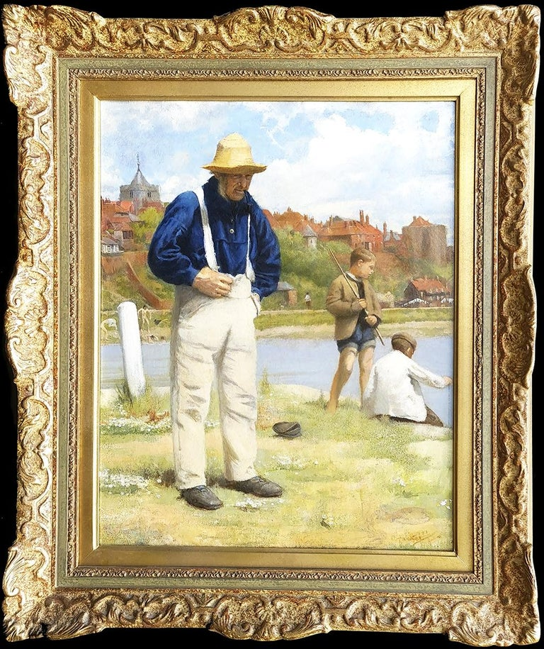 Arthur Hacker Landscape Painting - Fishermen Old and Young