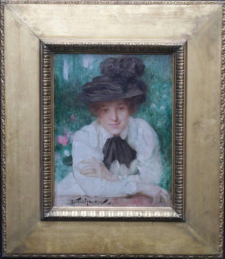 Portrait of an Edwardian Lady - British Impressionist oil painting black hat