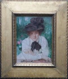 Portrait of an Edwardian Lady - British art Impressionist oil painting black hat
