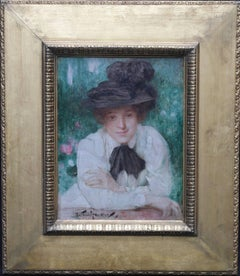 Portrait of an Edwardian Lady - British art Impressionist oil painting black hat