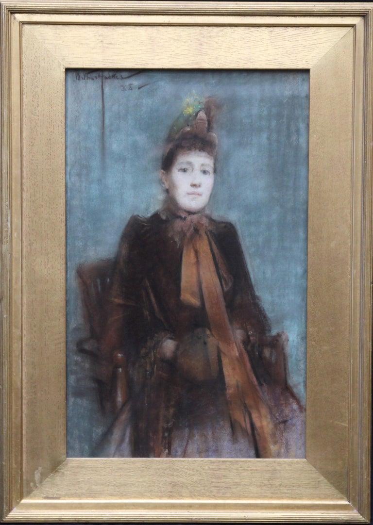Portrait of Victorian lady- British 19thC Impressionist painting female portrait 8