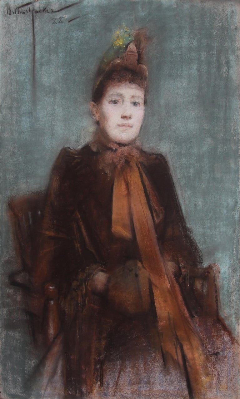 Portrait of Victorian lady- British 19thC Impressionist painting female portrait - Painting by Arthur Hacker