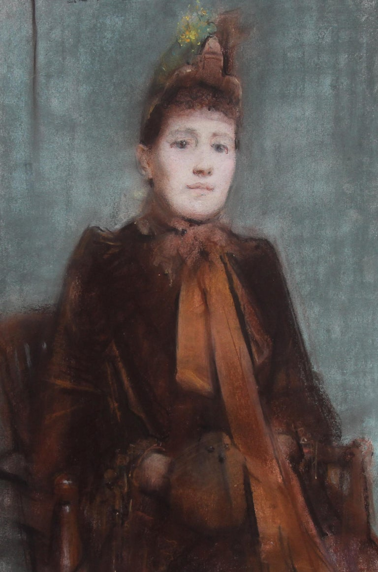Portrait of Victorian lady- British 19thC Impressionist painting female portrait - Gray Portrait Painting by Arthur Hacker