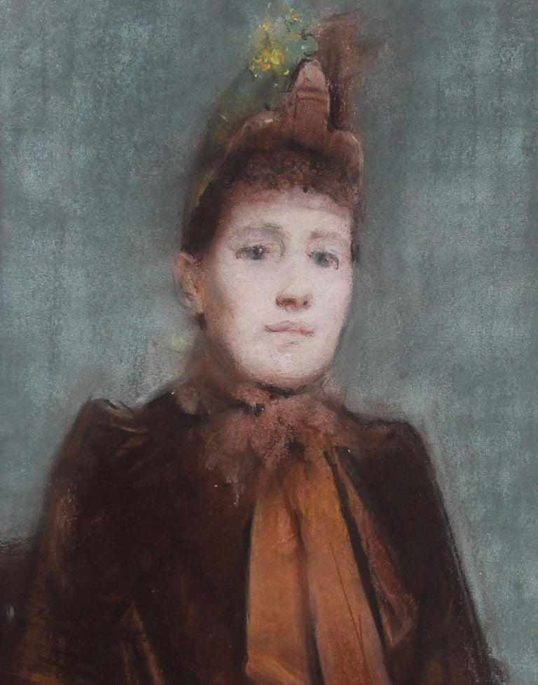 A beautiful colourful Impressionistic portrait painting of a Victorian lady which dates to 1888. A rare and fine oil pastel on paper on panel in excellent condition by Arthur Hacker RA. A real quality British Impressionist painting. It is a superb