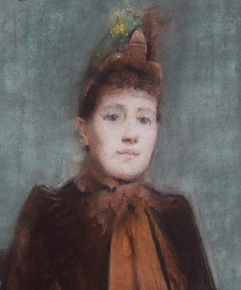 Portrait of Victorian lady- British 19thC Impressionist painting female portrait 1