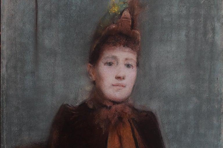Portrait of Victorian lady- British 19thC Impressionist painting female portrait 2