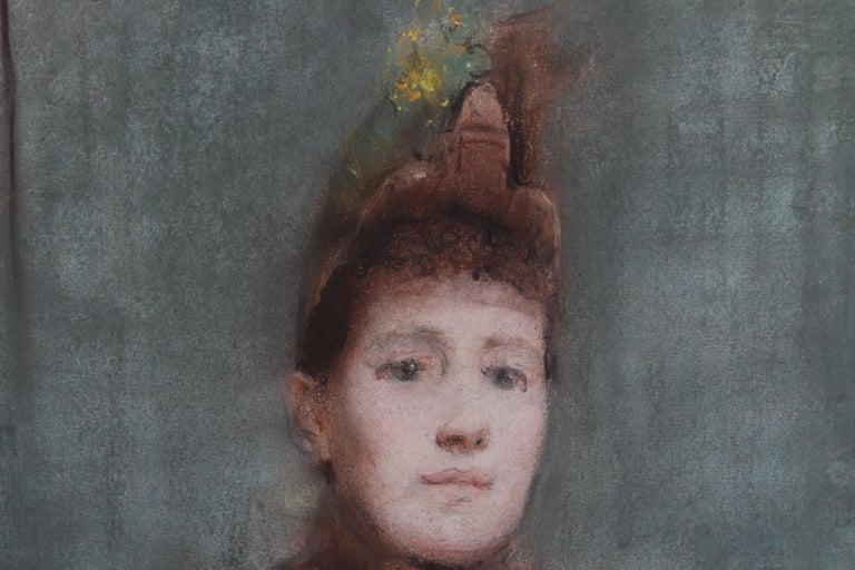 Portrait of Victorian lady- British 19thC Impressionist painting female portrait 3