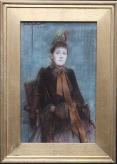 Portrait of Victorian lady- British 19thC Impressionist painting female portrait