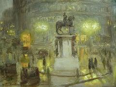 """Trafalgar Square - Night"" Hacker C.19th English Impressionist Figures Landscape"